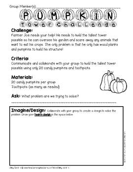 *FREEBIE*Candy Pumpkin Tower STEM Challenge (Use the Engineering Design Process)