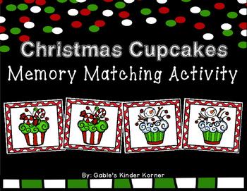 **FREEBIE** Christmas Cupcakes Memory Matching Activity