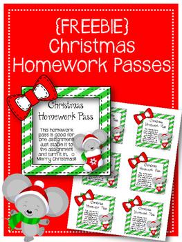 {FREEBIE} Christmas Homework Passes