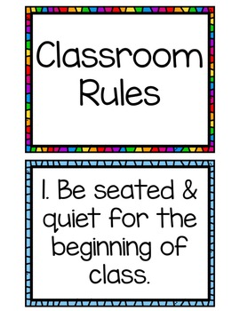 Class Rules - Back to School Classroom Management
