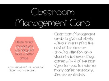 Classroom Management Reflection Card!