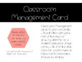 Classroom Management Reflection Card!