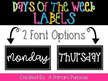 *FREEBIE* Days of the Week Labels