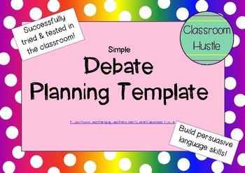 **FREEBIE** Debate Planning Page PERSUASIVE
