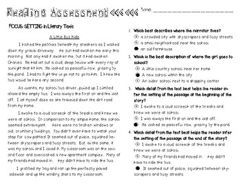 FREEBIE* Determining Setting in Literature - Grade Reading Assessment