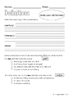 *FREEBIE* - Dictionary Practice Mini-Packet