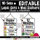 *EDITABLE * 10 LABEL SETS & WALL DISPLAYS = EDIT IN POWERPOINT