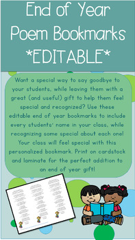 Editable End of Year Poem Bookmark