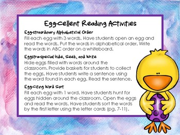 **FREEBIE** Egg-cellent Reading Activities GREAT FOR GUIDED READING!
