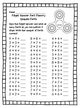 **FREEBIE**  Fidget Spinner Addition Doubles and Doubles Plus 1 Fact Fluency