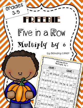 Five in a Row Multiply by 6 Game | Freebie