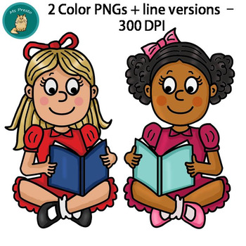 *FREEBIE* Girls Reading Clip Art