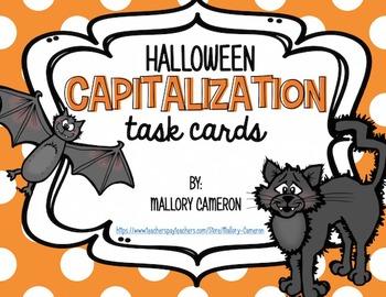 Halloween Capitalization Task Cards