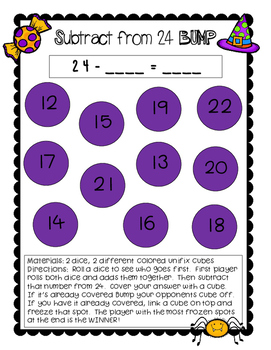 Addition & Subtraction Halloween Bump Games | Freebie