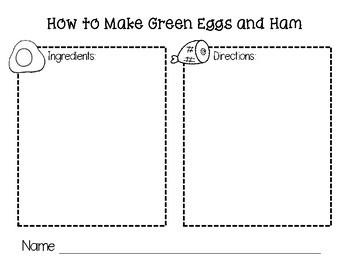 **FREEBIE** Ham and Eggs Recipe Writing