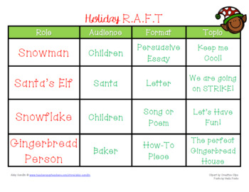 {FREEBIE} Holiday RAFT Writing {Role-Audience-Format-Topic}