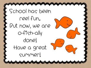 **FREEBIE** I am o-fish-ally done with school! End of the year tags!