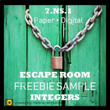 ⭐FREEBIE Integer Escape Room: Adding & Subtracting Integers {SAMPLE}⭐