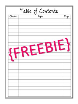 {FREEBIE} Interactive Notebook Table of Contents
