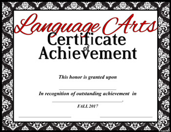 [FOLLOWERS-ONLY FREEBIE] Language Arts Achievement Certificate --Classic