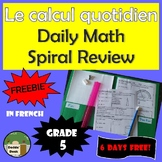 *FREEBIE* Le calcul quotidien – Daily Math Spiral Review i