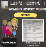 [FREEBIE] [Let's write ! ] Women's History Month biographies