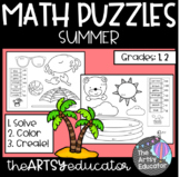 **FREEBIE** Math Puzzles - Summer Themed - Color by Sum and Difference