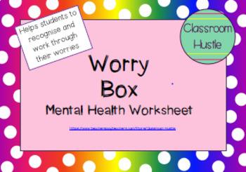 **FREEBIE** Mental Health WORRY BOX worksheet