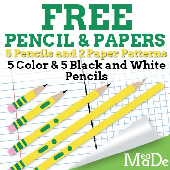 **FREEBIE** Pencil Clipart + Digital Papers