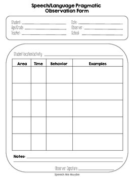 {{FREEBIE}} Pragmatic Observation Form for Speech Therapy