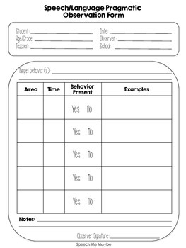Pragmatic Observation Form for Speech Therapy