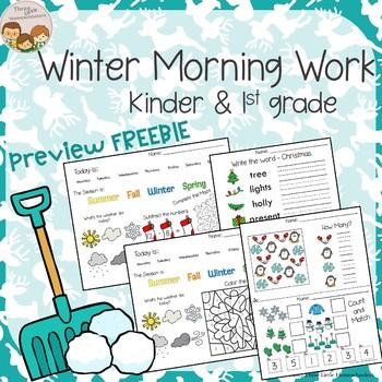 *FREEBIE Preview* Winter Morning Work Kindergarten & 1st Grade - No Prep