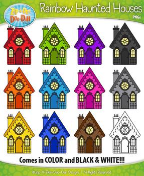{FREEBIE} Rainbow Haunted Houses Clipart Set — Includes 12