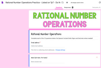 *FREEBIE* Rational Number Operations Task Cards plus DIGITAL TASK CARDS SOL 7.2