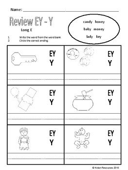 *FREEBIE* Review EY and Y Words