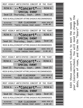 *FREEBIE* Rock & Roll Themed Entry Tickets and VIP Passes