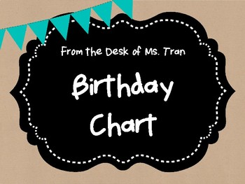 **FREEBIE**  Rustic Birthday Chart TEACHER APPRECIATION!