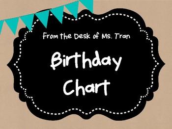 **FREEBIE**  Rustic Birthday Chart TEACHER APPRECIATION!