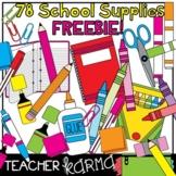 School Supplies Clipart - 78 pcs