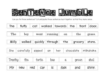 *FREEBIE* Sentence Jumble - Black and white
