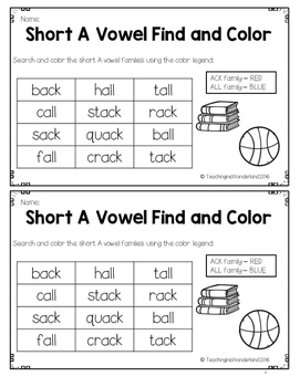 {FREEBIE} Short Vowel Word Families Mini Activity Pages