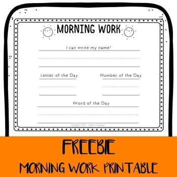 *FREEBIE* Simple Pre-K or Kindergarten Morning Work handout
