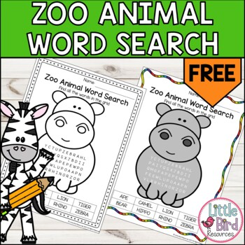 *FREEBIE* Simple Zoo Animal Word Search