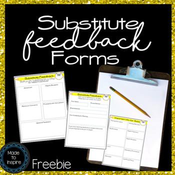 {FREEBIE} Substitute Feedback Forms