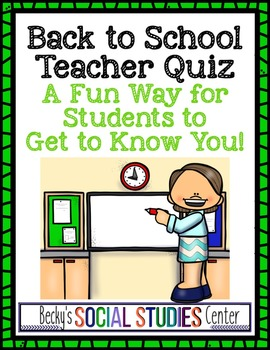 Back to School: Meet the Teacher - Students Get to Know You (Editable)
