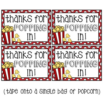 """*FREEBIE* """"Thanks for POPPING in!"""" Popcorn Gift Tags"""