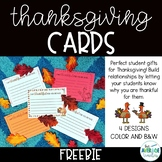 *FREEBIE* Thanksgiving Cards for Students