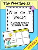 * FREEBIE*The Weather Is...What Can I Wear?  Clothing Activity for Special Needs