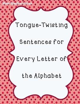 (FREEBIE) Tongue Twisting Sentences - Every Letter of the Alphabet