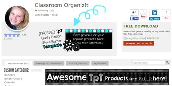 {FREEBIE} TpT Store Quote Area Banner Template